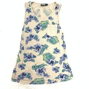 Vans Floral Tank Top Cotton Tee Shirt Dress L
